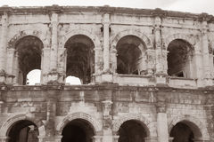 Roman Amphitheatre, Nimes. France, Europe in Black and White Sepia Tone Royalty Free Stock Images