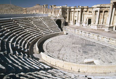 Roman amphitheatre at Palmyra, Syria. Amphitheatre in the World Heritage site of Palmyra in Syria. Built in second century AD royalty free stock photos