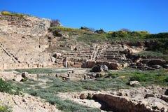 Roman Amphitheatre Paphos, Cypern Royaltyfri Foto