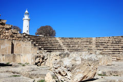Roman amphitheatre. Paphos Odeion theatre is a 2nd century Roman amphitheatre, an ancient ruin which faces the Mediterranean Sea and has been partially restored Royalty Free Stock Images