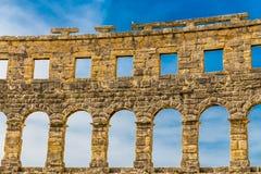 Roman Amphitheatre Pula Arena-Pula, Istria, Croácia imagem de stock