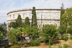 The Roman amphitheatre in Pula stock images