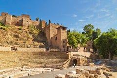 Roman amphitheatre ruins in Malaga royalty free stock image