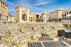 The Roman amphitheatre in Sant'Oronzo square, Lecce, Salento, It Royalty Free Stock Photos