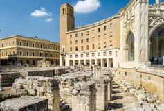 The Roman amphitheatre in Sant'Oronzo square, Lecce, Salento, It Royalty Free Stock Image