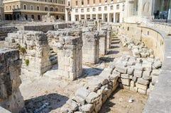The Roman amphitheatre in Sant'Oronzo square, Lecce, Salento, It Royalty Free Stock Images
