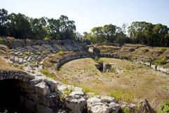 The Roman Amphitheatre, Siracusa Stock Images