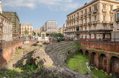 Roman Amphitheatre and Stesichorus Square Stock Photography