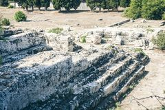 The Roman amphitheatre of Syracuse – ruins in Archeological park, Sicily, Italy royalty free stock photography