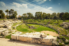Roman amphitheatre of Syracuse. The ancient Roman amphitheatre of Syracuse in Sicily, Italy Stock Images
