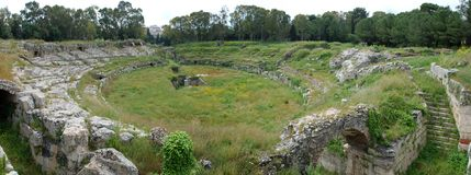 Roman amphitheatre at Syracuse Royalty Free Stock Image