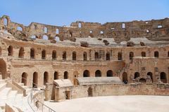 Roman Amphitheatre in Tunisia stock photo