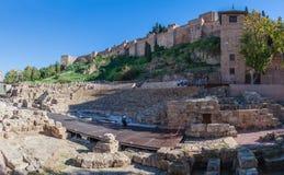 Roman amphitheatreruïne in Malaga stock foto