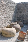 Roman amphorae. Objects ancient amphorae dating back to the ancient Romans found in the archaeological excavations of Pompeii site of so much tourism Stock Photo