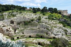 Roman Ampitheatre, Cagliari, Cerdeña, Italia foto de archivo