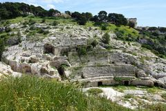 Roman Ampitheatre, Cagliari, Sardinia, Itália fotos de stock royalty free