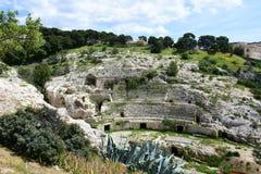 Roman Ampitheatre Cagliari, Sardinia, Italien arkivfoton