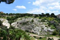 Roman Ampitheatre Cagliari, Sardinia, Italien arkivbild