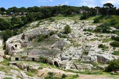 Roman Ampitheatre Cagliari, Sardinia, Italien fotografering för bildbyråer
