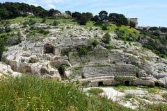 Roman Ampitheatre, Cagliari, Sardinia, Italy. Historic Roman Ampitheatre or Anfiteatro Romano in Cagliari, Sardinia, Italy royalty free stock photos