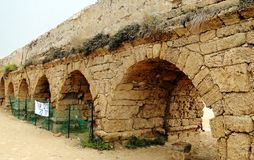 Roman ancient aqueduct in Israel Stock Images