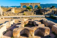 Roman Ancient stad av Volubilis, Meknes, Unesco-världsarv, Marocko arkivfoton