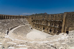 The Roman ancient theater in Aspendos. The province of Antalya. Mediterranean coast of Turkey Royalty Free Stock Photography