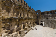 The Roman ancient theater in Aspendos. Royalty Free Stock Image