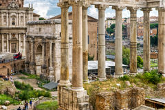 Roman antiquiteit: Roman Forum in Rome Stock Foto's