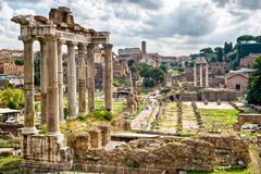 Roman antiquity: View of the Roman Forum Royalty Free Stock Image