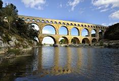 Roman aquaduct Pont du Gard, France stock photo