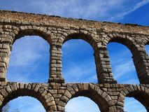 Roman Aquaduct in Segovia. Close-up of Roman Aquaduct and the arches in Segovia , Spain Royalty Free Stock Image