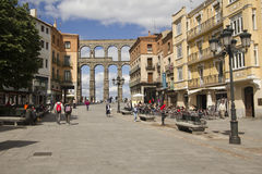 Roman aquaduct in Segovia, Spain Royalty Free Stock Image