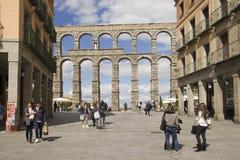 Roman aquaduct in Segovia, Spain Royalty Free Stock Image