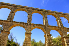 Roman aqueduct. In Tarragona, Spain Stock Photos
