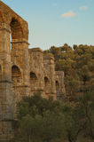 Roman aqueduct. Or aquaduct in a ravine on the Greek island Lesbos. The ancient archways are hidden in an olive grove Royalty Free Stock Photo