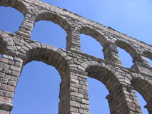 Roman Aqueduct. Top 2 tiers of an ancient Roman aqueduct in Segovia, Spain as seen from below Royalty Free Stock Images