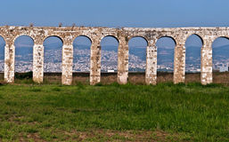Roman Aqueduct in Akko . Ancient aqueduct Cabri - Akko .Located in the western Galilee , Israel stock photo