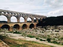 Roman aqueduct. Ancient roman aqueduct, Pont du Gard in Provence, France Royalty Free Stock Photography