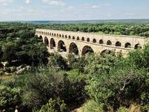 Roman aqueduct. Ancient roman aqueduct, Pont du Gard in Provence, France Royalty Free Stock Photo