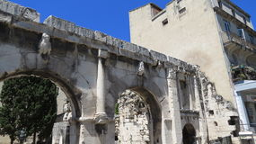 Roman Aqueduct. Aqueduct as it enters into the city of Nimes in France Stock Image