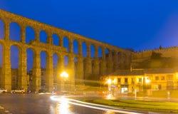 Roman aqueduct  in autumn night. Segovia Royalty Free Stock Photography
