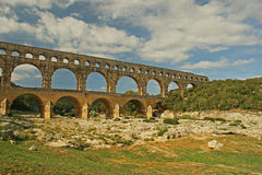 Roman aqueduct Pont Du Gard France Stock Photos