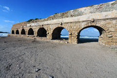 The roman aqueduct in Caesarea Israel Royalty Free Stock Photo