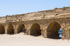 The roman aqueduct in Caesarea Israel. The roman aqueduct in ancient Caesarea, Israel Stock Image