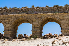The roman aqueduct in Caesarea Israel. The roman aqueduct in ancient Caesarea, Israel Royalty Free Stock Photography