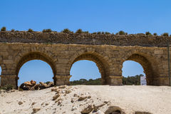 The roman aqueduct in Caesarea Israel. The roman aqueduct in ancient Caesarea, Israel Stock Photos