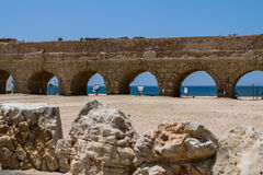 The roman aqueduct in Caesarea Israel Royalty Free Stock Images