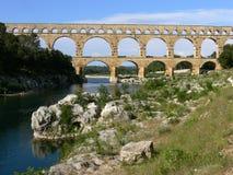 Roman aqueduct called Pont du Gard in France Royalty Free Stock Image