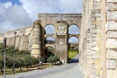 Roman Aqueduct da Amoreira dans Elvas au Portugal Photographie stock libre de droits